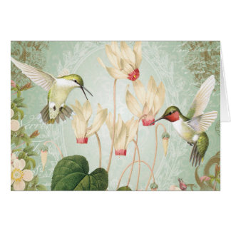Modern Vintage French Hummingbirds Note Card