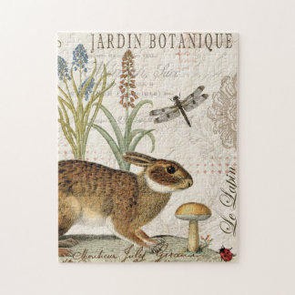 modern vintage french rabbit in the garden jigsaw puzzle