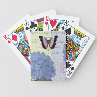 modern vintage hydrangea and butterfly bicycle playing cards
