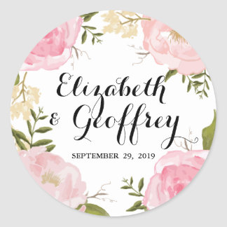 Modern Vintage Pink Floral Wedding Custom Favor Round Sticker