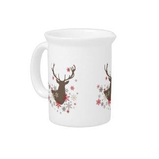 modern vintage rustic deer and snowflakes pitcher