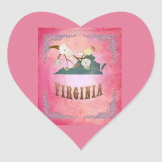 Modern Vintage Virginia State Map- Candy Pink Stickers