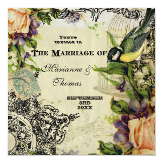 Modern Vintage, Yellow Song Bird Cage Swirl Floral 13 Cm X 13 Cm Square Invitation Card
