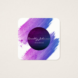 Modern Watercolor Abstract Elegant Rainbow colors Square Business Card