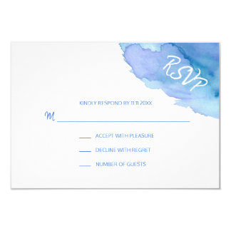Modern Watercolor Blue Turquoise RSVP Insert Cards