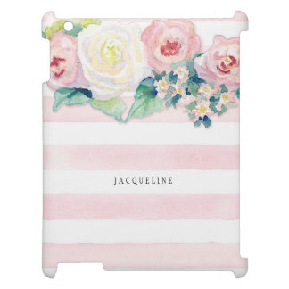 MODERN Watercolor Chic Wide Stripes w Roses Case For The iPad 2 3 4