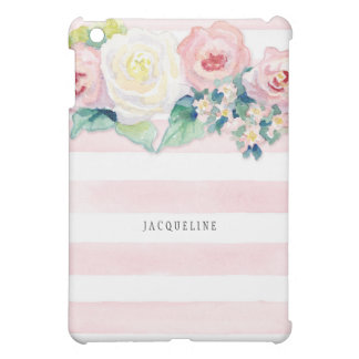MODERN Watercolor Chic Wide Stripes w Roses Case For The iPad Mini