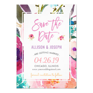Modern Watercolor Floral | Save the Date 13 Cm X 18 Cm Invitation Card