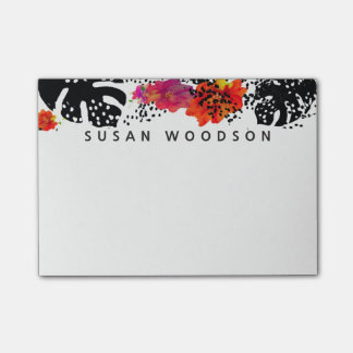 Modern Watercolor Floral Tropical Monstera Patte Post-it® Notes