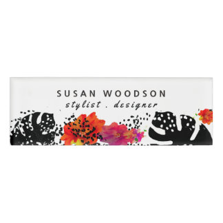 Modern Watercolor Floral Tropical Monstera Pattern Name Tag