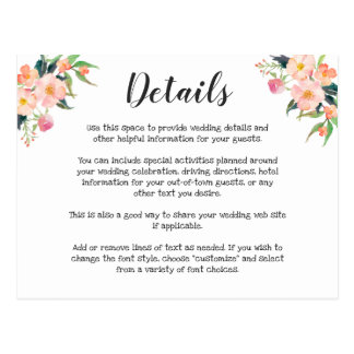 Modern Watercolor Floral Wedding Details Postcard