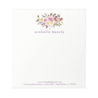Modern Watercolor Floral with Business Name Notepad