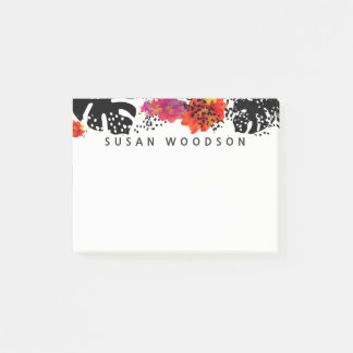 Modern Watercolor Flowers Tropical Monstera Patte Post-it Notes
