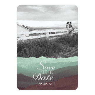 Modern Watercolor Mountain Save The Date 13 Cm X 18 Cm Invitation Card