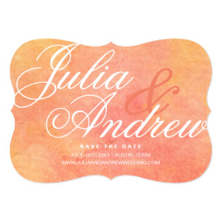 Modern Watercolor Peach-Yellow Sunset Card