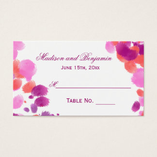 Modern Watercolor Purple Pink Wedding Place Cards