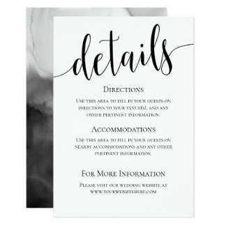 Modern We Do Wedding Details Card