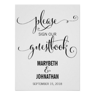 Modern We Do Wedding Script Guest Book Poster Sign