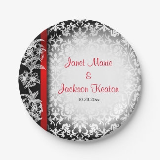Modern Wedding Damask in White, Black and Red 7 Inch Paper Plate