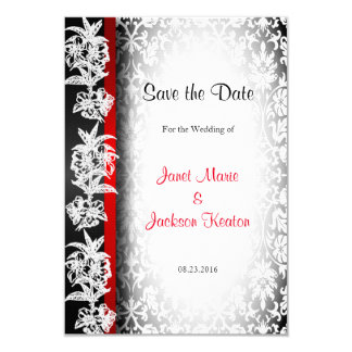 Modern Wedding Damask in White, Black and Red 9 Cm X 13 Cm Invitation Card
