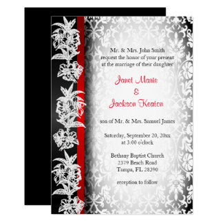 Modern Wedding Damask in White, Black and Red Card