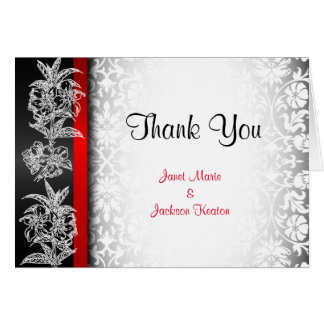 Modern Wedding Damask in White, Black and Red Note Card