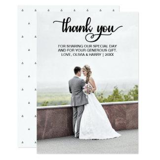 Modern Wedding Thank You Photo Card   Black