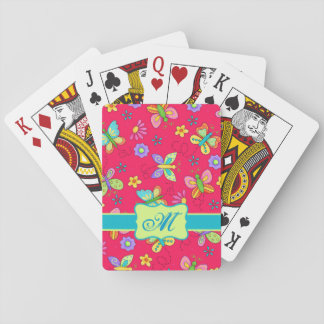 Modern Whimsy Butterflies on Red Monogram Personal Playing Cards