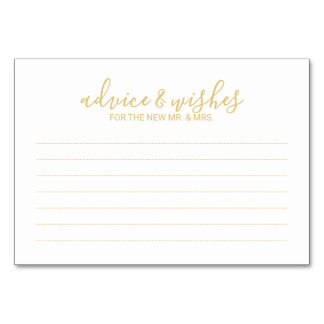 Modern White and Gold Wedding Advice and Wishes Card
