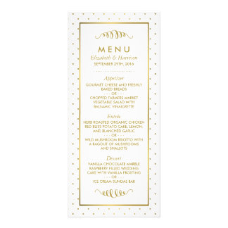 Modern White & Gold Foil Effect Wedding Menu Custom Rack Card