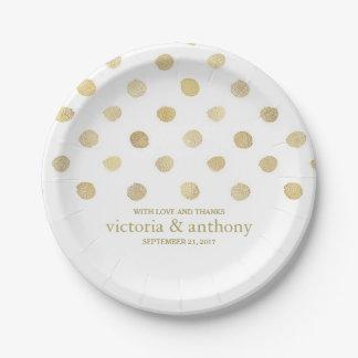 Modern White & Gold Polka Dots Wedding 7 Inch Paper Plate