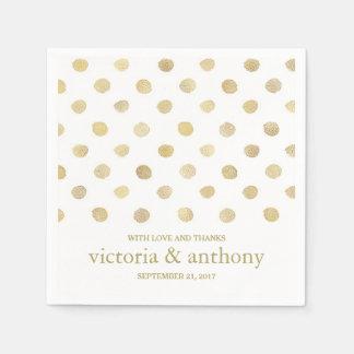 Modern White & Gold Polka Dots Wedding Disposable Napkins