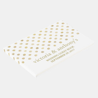 Modern White & Gold Polka Dots Wedding Guest Book