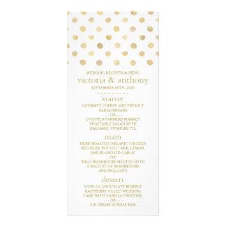 Modern White & Gold Polka Dots Wedding Menu 10 Cm X 23 Cm Rack Card