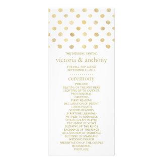 Modern White & Gold Polka Dots Wedding Program Full Colour Rack Card