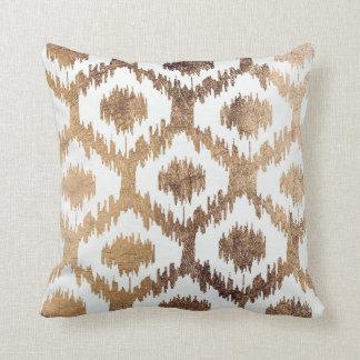 Modern white handrawn ikat pattern faux brass gold throw pillow
