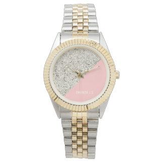 Modern White Silver Glitter Pink triangle Watch