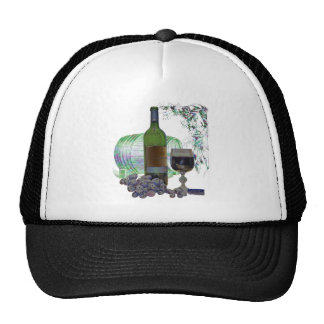 Modern Wine and Grapes Art Mesh Hats