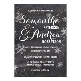 Modern winter snowflakes chalkboard Wedding 13 Cm X 18 Cm Invitation Card