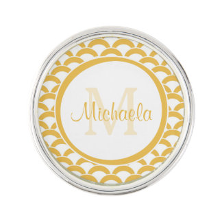 Modern Yellow and White Scallops Monogram and Name Lapel Pin
