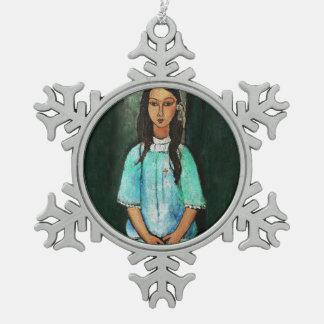 Modigliani Alice Vintage Fine Art Painting Pewter Snowflake Decoration