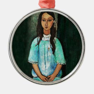 Modigliani Alice Vintage Fine Art Painting Silver-Colored Round Decoration