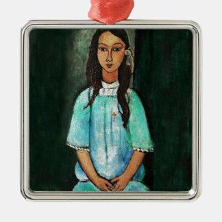 Modigliani Alice Vintage Fine Art Painting Silver-Colored Square Decoration