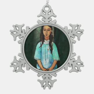Modigliani Alice Vintage Fine Art Painting Snowflake Pewter Christmas Ornament