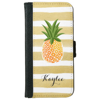 Modish Pineapple with Gold Stripes Monogram Name iPhone 6 Wallet Case