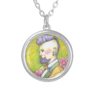 Mohawks and Bowties Round Pendant Necklace