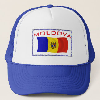 Moldova Flag Frame Blue Trucker Hat