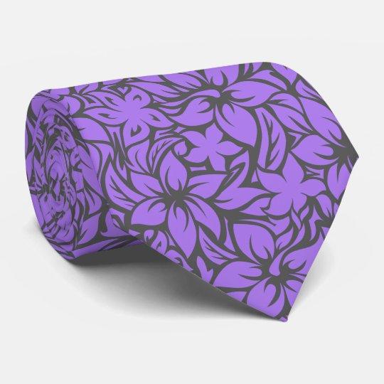 Moloaa Bay Hawaiian Hibiscus Aloha - Grey-Purple Tie