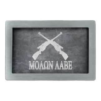 Molon Labe Crossed Rifles 2nd Amendment Rectangular Belt Buckles