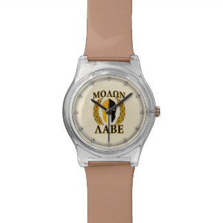 Molon Labe Spartan Helmet Laurels Warm Beige Watch